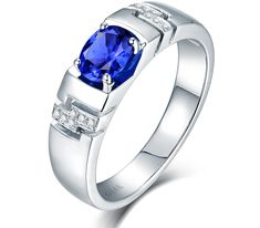 Noble Oval 5x7mm Natural Blue Sapphire With Diamond Engagement Ring For Men's