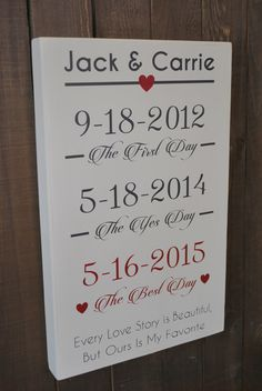 PERSONALIZED WEDDING GIFT - Wedding Reception Decor, Wedding Gift for Bride and Groom, Bridal Shower Gift, The First Day, The Yes Day, Best by SignsToLiveBy on Etsy https://www.etsy.com/listing/226689113/personalized-wedding-gift-wedding