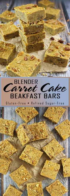 Blender Carrot Cake Breakfast Bars - gluten free and refined sugar free!