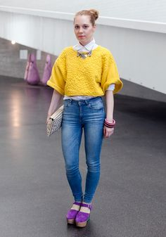 """hel-looks:  Karoliina, 30 """"I'm wearing a necklace from Madrid, shirts from H&M, Monki jeans, bracelets by Marimekko and shoes by Minna Parikka. Kenzo and my workmates inspire me."""" 14 May 2014, Kiasma"""