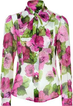 ShopStyle: D Dolce & Gabbana Pink and Green Sheer Floral Silk Blouse
