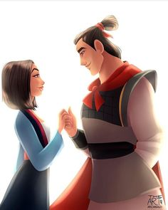 Casal Disney:Mulan e Chang Disney Pixar, Disney Fan Art, Walt Disney, Disney Couples, Cute Disney, Disney Dream, Disney Girls, Disney Animation, Disney And Dreamworks