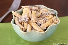 Creamy Mushroom Pasta - #healthyrecipe #healthy #lightrecipe #lightcooking #lowfat #lowcalorie