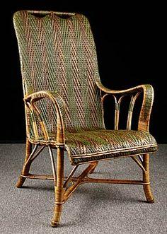 chaise longue ancienne en rotin fin 19 me vintage j. Black Bedroom Furniture Sets. Home Design Ideas