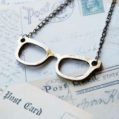 Bronze Nerd Glasses Necklace by BabyLovesPink on Etsy, $15.00