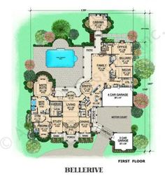 Bellerive House Plan - Courtyard Floor - House Plan - First Floor Plan