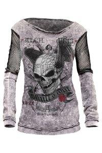 Alchemy Gothic - Langarmshirt mit Netzeinsätzen - Skull Out