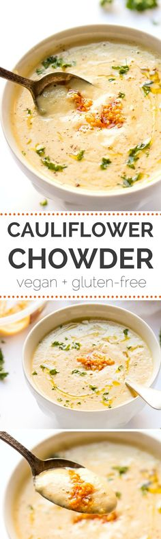 Super easy 30 MINUTE cauliflower chowder made with roasted. Super easy 30 MINUTE cauliflower chowder made with roasted garlic cashews and a secret protein-packed ingredient! Veggie Recipes, Soup Recipes, Whole Food Recipes, Vegetarian Recipes, Cooking Recipes, Healthy Recipes, Garlic Recipes, Delicious Recipes, Recipies
