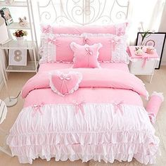 Sisbay Romantic Princess Bowknot Bedding Pink Twin,Baby Girls French Bed in a Bag Falbala Ruffle Duvet Cover,Chic Bed Skirt -cotton pink princess bedding set lace edge solid pink and white color twin queen king bedroom set duvet cover bed Ama King Bedroom Sets, King Bedding Sets, Queen Size Bedding, Bedroom Girls, Queen Mattress, Bed Mattress, Master Bedroom, Girls Bedding Sets, Pink Bedding