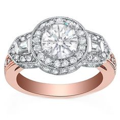 Vintage Style Pink Gold Round Diamond Halo Engagement Ring with Baguettes 0.84 tcw.