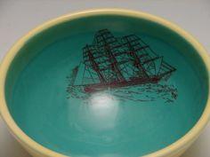 Ship Bowl/ pottery. $32.00, via Etsy.