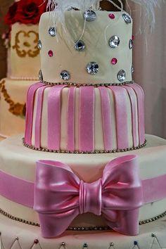 Sparkling Rhinestones  Pink Bow Cake