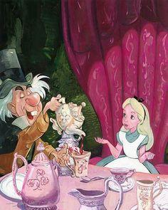Le Chapelier Fou et Alice prennent le thé