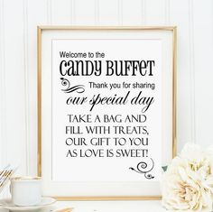 Welcome to the Candy Buffet Wedding 8 x 10 Sign  by WUYfavors, $5.00