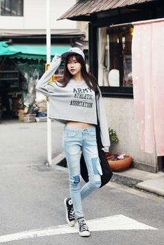 army round neck cropped sweatshirts - Genuine Korean style fashion from Korea #fashion