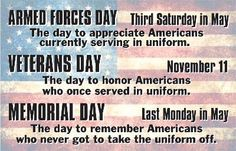 Armed Forces Day, Veterans' Day, and Memorial day. It's important to know when we celebrate, why we celebrate and what we celebrate! Memorial Day Quotes, Happy Memorial Day, Red White And Boom, American Veterans, American Soldiers, Love Days, God Bless America, Veterans Day, Encouragement Quotes