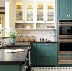 Don't like the random white cabinets here.  Like the greyish blue cabinets tho