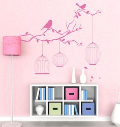 birds and cages wall cling for Madi's room