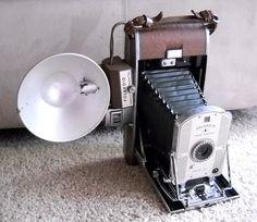 $60.00 wildmushroomantiques    Polaroid Land Camera Model 95 with Flash Attachment FIRST Instant Camera