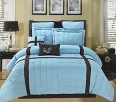 8pc Luxury Comforter Set- Broadway- Blue/ Chocolate