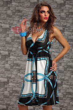 ファッションノースリーブディープVネックショートデイドレスブルー
