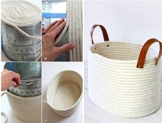 Create your own hot-glued rope basket by attaching it around and around and…