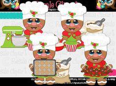 Baking Christmas Ginger Girls 1 Clipart Digital Zip by MaddieZee