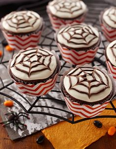 Halloween Spider Web Cupcakes are a fun and easy dessert to serve for a Halloween party.