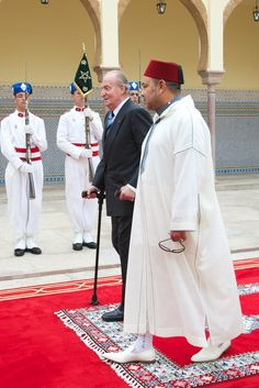 King Mohammed VI of Morocco (R) receives King Juan Carlos of Spain (L) at the Royal Palace for a official dinner on 16 July 2013 in Rabat, Morocco.