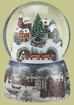 snow globes are enchanting and often times  hypnotic works of art. For this reason, they have found a special place in  my heart and home decor. One of my favorite charming yet whimsical cool  snow globes.      Musical Revolving Train Dome Globe by Roman Inc