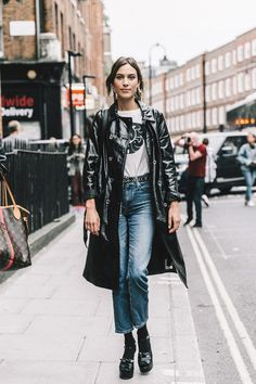 Alexa Chung | VK | marks and spencer vinyl coat | vinyl jacket | patent coat