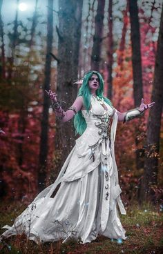 World of Warcraft Tyrande Whisperwind Inspired Cosplay Costume Custom Made Fantasy Costumes, Cosplay Costumes, Halloween Costumes, Anime Festival, Female Elf, Fantasy Armor, Wow Art, Character Outfits, Best Cosplay