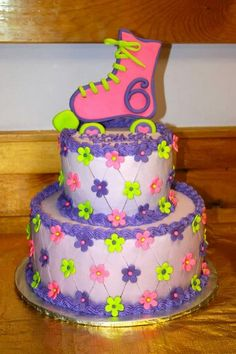 Skating Party Birthday Cake For A6 Year Old Girl
