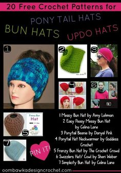 Ponytail Hats - 20 Free Crochet Patterns Perfect for Updos! http://oombawkadesigncrochet.com/2016/12/ponytail-hats-20-free-patterns-perfect-for-updos.html