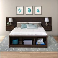 This King size Floating Headboard with Nightstands in Espresso with nightstands maximizes your available floor space with it's elevated, off the floor design. W