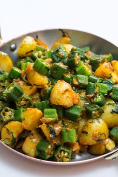 Many people are sceptical about okra, as the texture can be unpleasant when overcooked, but this aloo bhindi recipe from Michelin-starred Indian chef Peter Joseph shows how to make this underrated vegetable shine. Veg Recipes, Curry Recipes, Potato Recipes, Indian Food Recipes, Whole Food Recipes, Dinner Recipes, Cooking Recipes, Healthy Recipes, Indian Vegetable Recipes