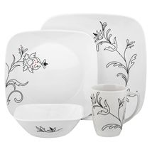 The botanical Royal Lines design on this Corelle dinnerware set works in any kitchen or dining room. Crafted of durable vitrelle glass, these lovely dishes will last for years. The plates are a contemporary square shape. Square Dinnerware Set, Dinnerware Sets, Dinner Sets Uk, Corelle Dishes, Casual Dinnerware, Square Plates, Dining Set, Dining Room, Kitchen Dining