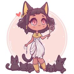 Bastet (or Bast) the Cat Goddess! ✨✨ I do love Ancient Egyptian gods and goddesses :3 especially all of the part animal ones ✨✨ do you…