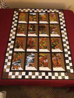 Grandma's Attic Window Quilt I made using. Fabric panel We brought back from Australia. Attic Window Quilts, Rock Creek, Panel Quilts, Window Panels, Fabric Panels, Butcher Block Cutting Board, Mosaic, Quilting, Australia