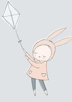 A3 Nursery Art Poster - Childrens Poster - Baby Girl Bunny Rabbit Flying a Kite in the Sky - Pastel Blue version