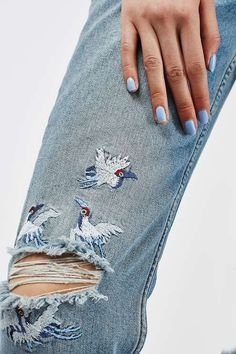 PETITE Stork Embroidered Straight Leg Jean - Jeans - Clothing