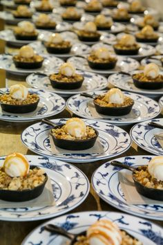 It's sophisticated. It's nostalgic. It's Grilled Peach Cobbler made with homemade granola and served warm with salted caramel ice cream custard and a wisp of caramel sauce. For this event we presented each guest with an individual mini skillet on top of a classic white and navy floral base plate. Deliciousness is the only way the cobbler crumbles!