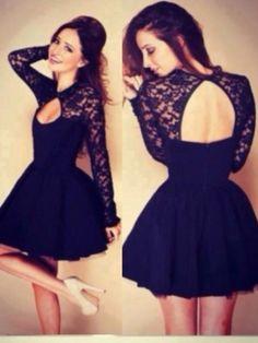 A-Line/Princess High Neck Long Sleeves Applique Short/Mini Taffeta Dresses