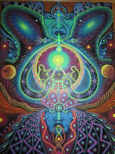 Ayahuasca Mother in psychedelic colors, whispers!