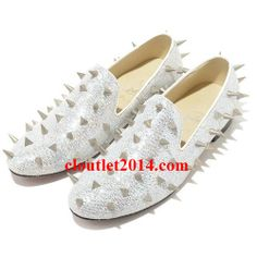 Discount Christian Louboutin Rollerboy Silver Spikes Flats