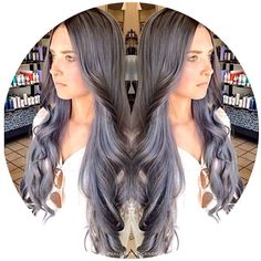 Stunning! Gorgeous silver gray hair with purple undertones and a dark charcoal shaded root on the longest mermaid hair ever! Keep an eye out for the close ups!! #salonheadcandy #grayhair #silverhair #greyhair