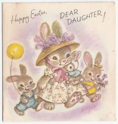 Vintage Greeting Card Easter Cute Bunny Rabbit Family M. Cooper Marjorie 1940s