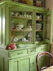 Gorgeous Vintage Green Dresser by lessie Shabby Chic Furniture, Vintage Furniture, Wooden Furniture, Green Painted Furniture, Muebles Shabby Chic, Sweet Home, Vintage Kitchen, Vintage Cabinet, Cottage Style