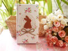 Birthday gift Diy Handmade Cloth Art Flip Cover Case no.53fc Cute Rabbit with Countryside style for Sony Xperia Z Z1 Z2 Nokia Lumia 920 925