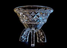 Art Deco glass vase, posy bowl, rose bowl, Rocket shape, lemon juicer shape, Cone shape, 3 legged dish, 1930's 30's Clear pressed glass,
